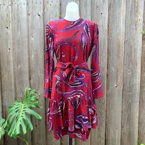 Ted Lapidus 1970s Vintage Ruffle Pattern Dress